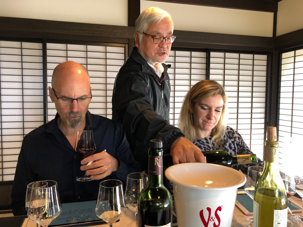 This is Shana Clarke, journalist for Fortune, with her husband at Marufuji Winery.