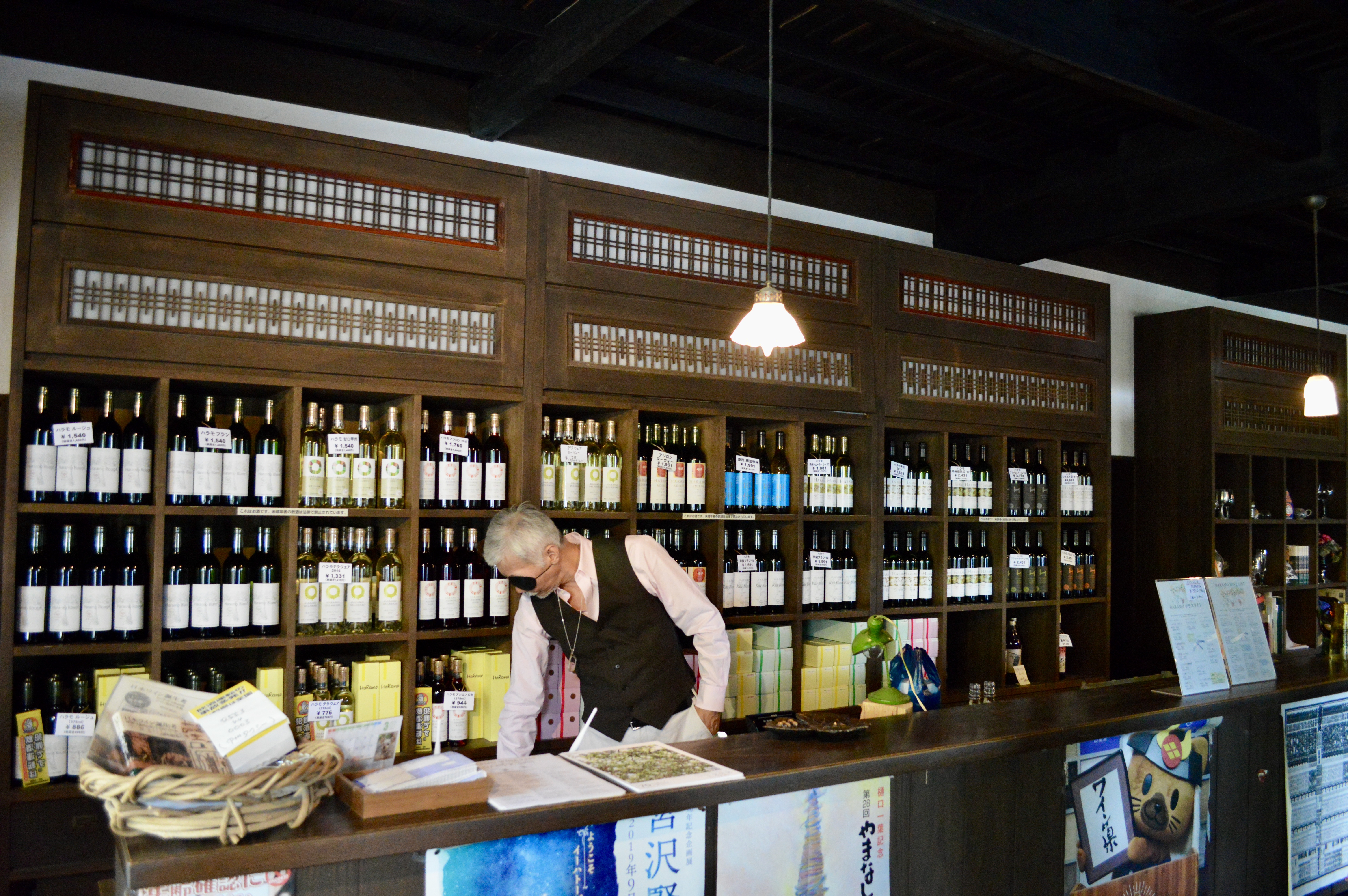 Here is the owner of Haramo Winery behind the tasting counter.